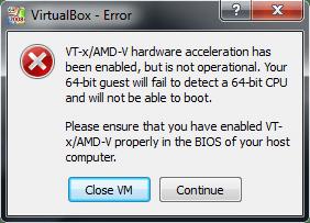 VirtualBox VT-x/AMD-V Error
