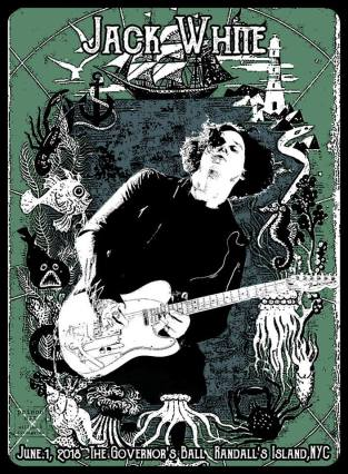 "by W.B. Livingston III ""I wanted to do something different for Jack. Since the show was at Randall's Island, I thought about an ocean theme, which I had never seen before on a Jack White poster."""