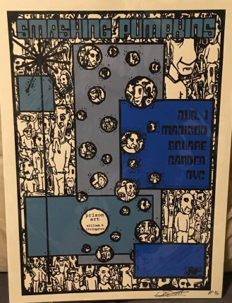 """by W.B. Livingston """"I usually don't like doing posters for big venues. I prefer smaller ones, where the person passing them out has a more intimate experience… but it's the Smashing Pumpkins. This design is taken from my painting titled Breaking the Angle, and it is covered in what I call 'throwaway people.'"""""""