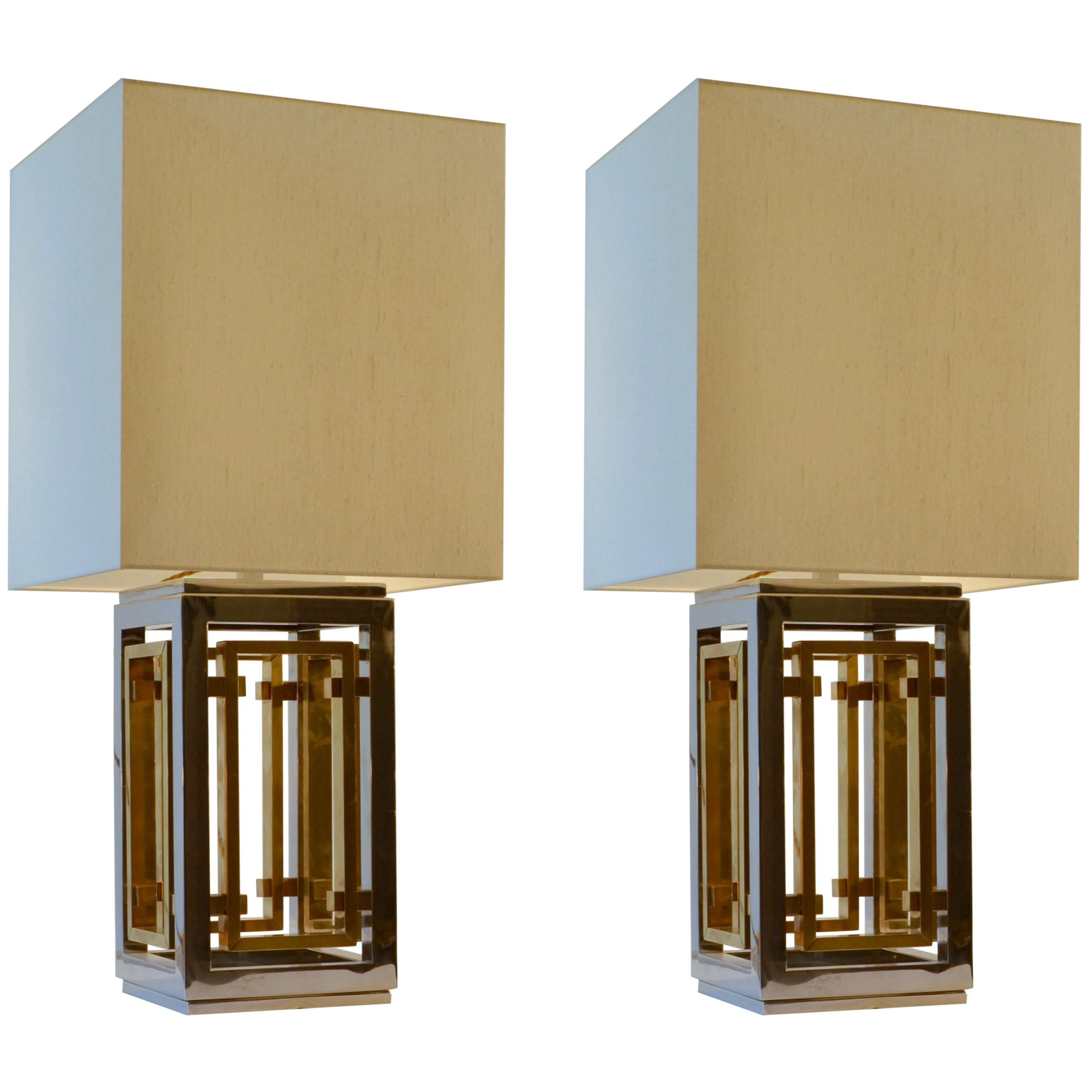 Romeo Rega Pair Of Table Lamps Chrome And Brass With Cream Square Shades By Romeo Rega