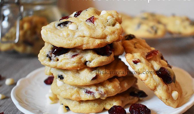 Cranberry white chocolate chip cookies – soft , chewy – Stepwise pics