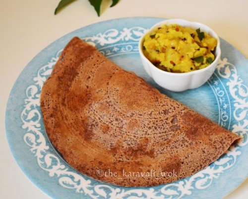 Ragi Masala Dosa using leftover idli batter
