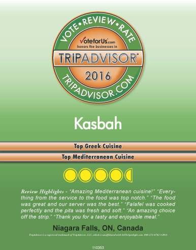 TripAdvisor, best Greek food in Niagara, best Mediterranean food in Niagara, Greek restaurant in Niagara Falls