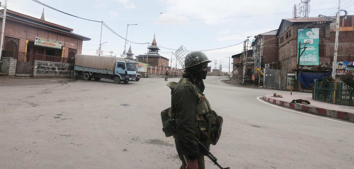 On the first day of second phase of nation-wide lockdown, a security force man stands guard…