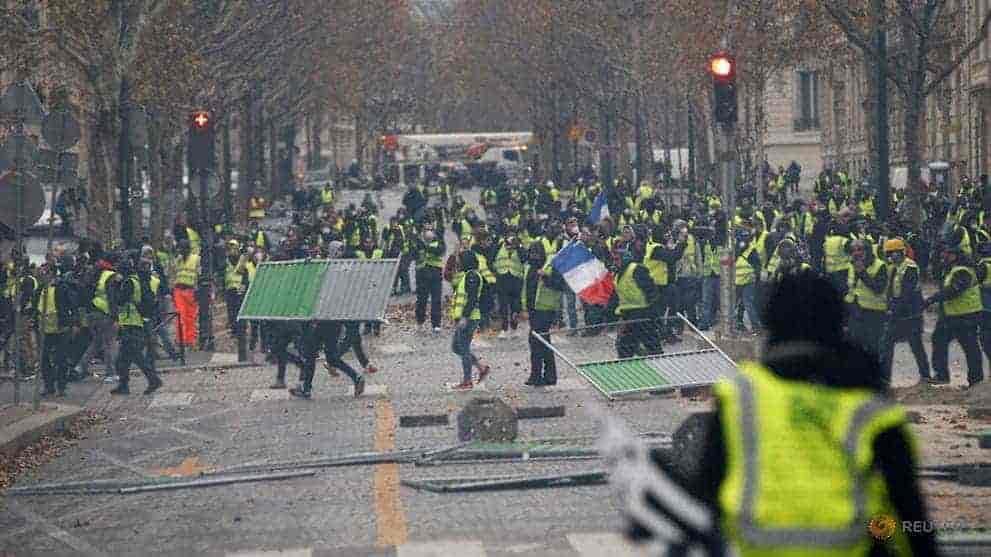 paris protests, yellow vest protest,, france, macron