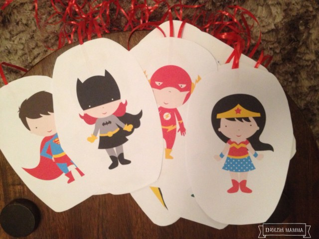 An English Mamma in Stockholm: superhero-themed fourth birthday party hanging decorations