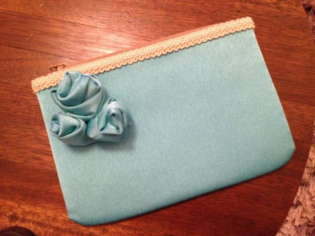 An English Mamma in Stockholm: turquoise satin fabric roses upcycled made clutch purse