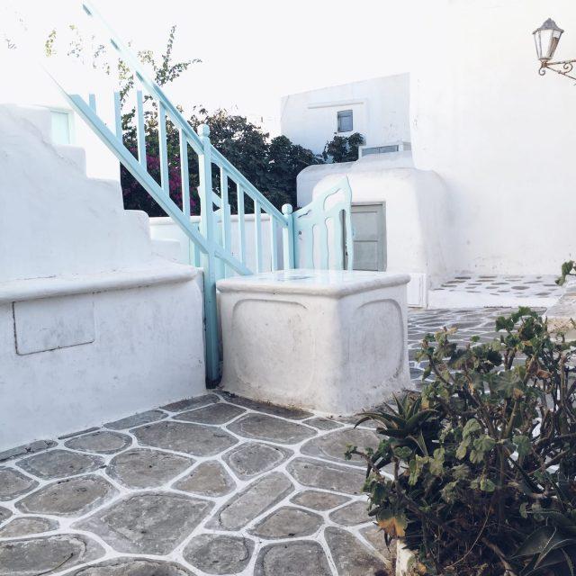 The Kat Edit: quiet side of Mykonos chora mykonos town white houses blue fence