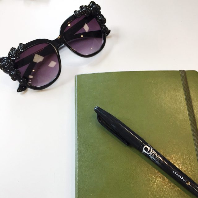 The Kat Edit: bullet journal front page sunglasses frixion pen