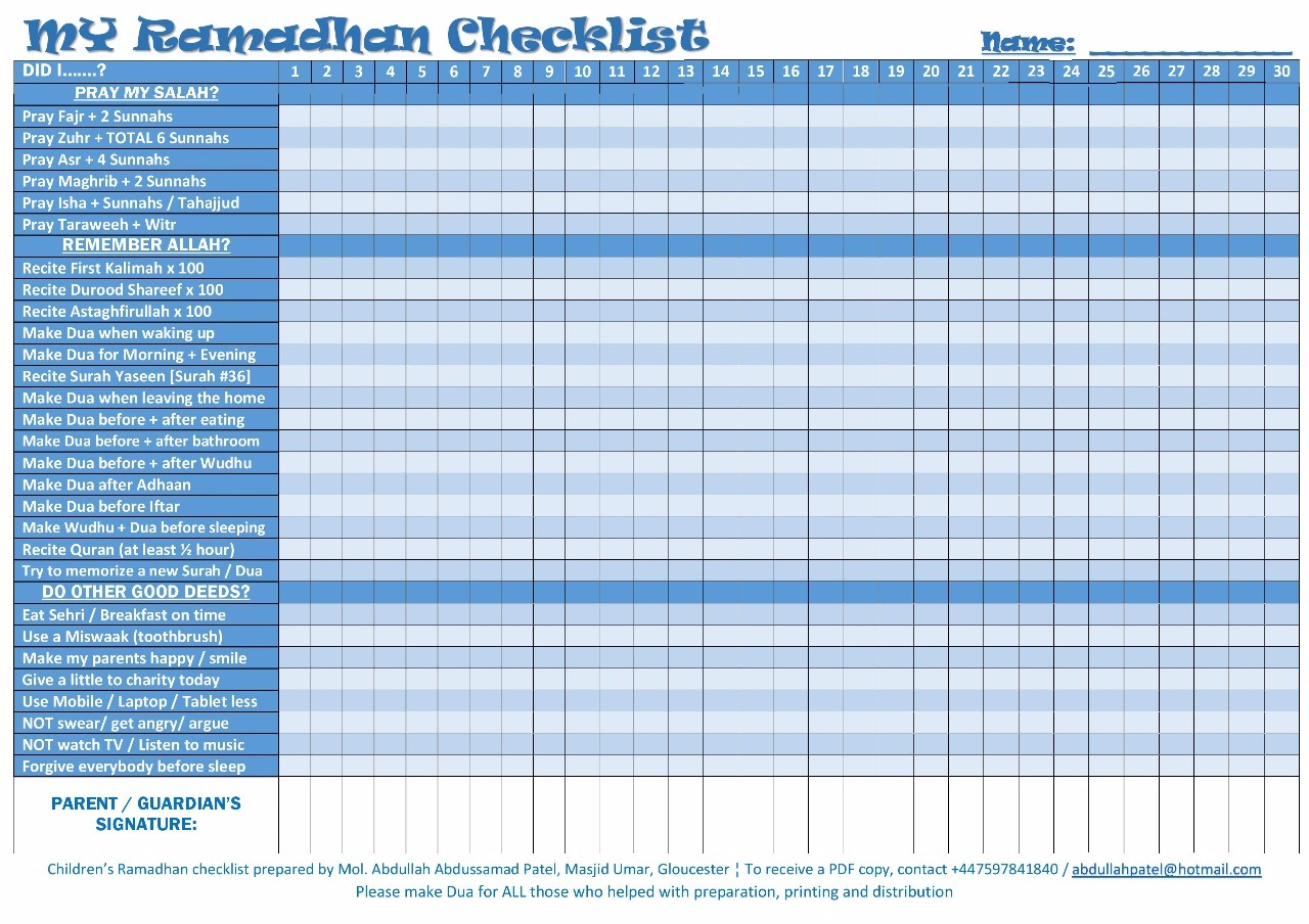 Ramadhan Checklist For Teenagers