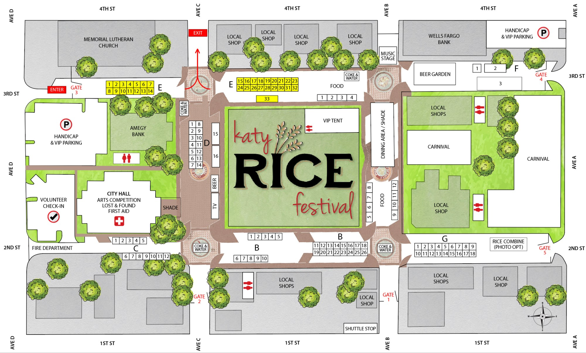hight resolution of a layout of the katy rice festival layout courtesy city of katy