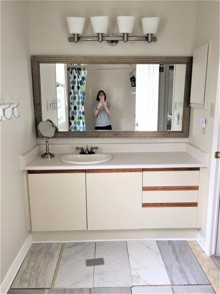 bathroom vanity, painted vanity, renovated bathroom vanity