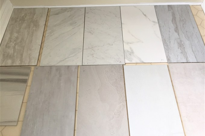 tile samples, bathroom renovation