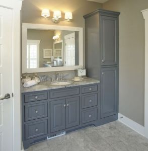 bathroom vanity, grey vanity, white framed mirror