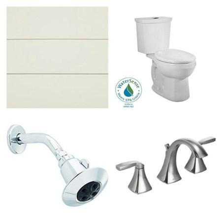subway tile, toilet, faucet, shower head