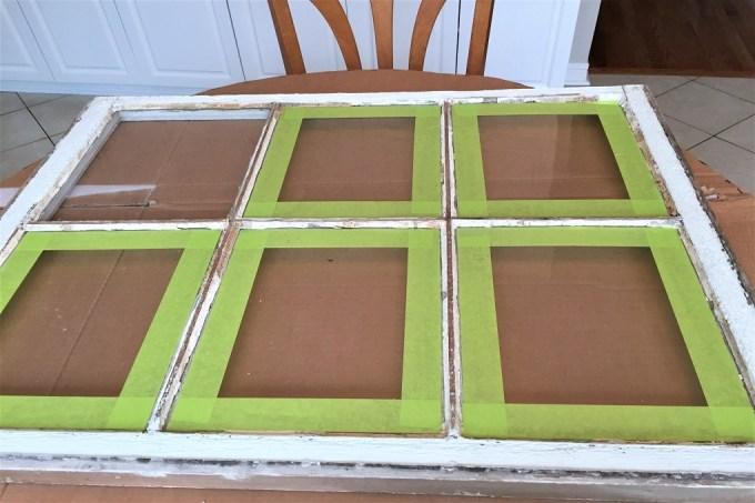 old window, farmhouse window, chippy window, caulking