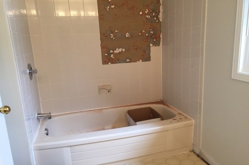 bathroom renovation, bathtub removal, tile removal, vanity removal, linoleum removal