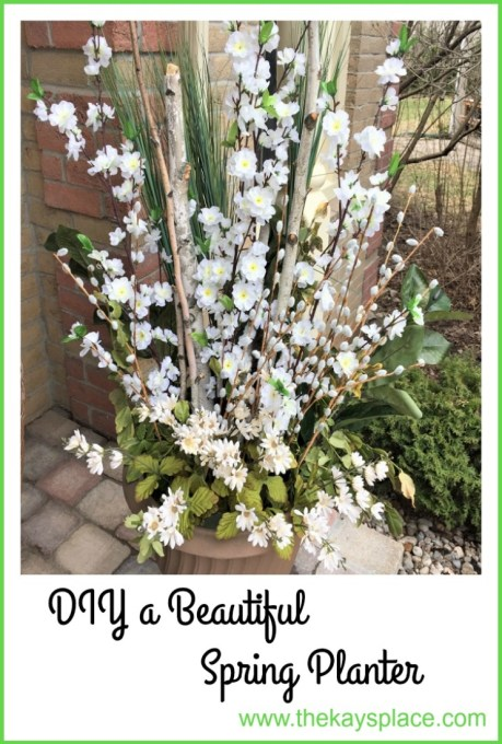 diy spring planter, birch branches, apple blossoms, spring front porch, front porch