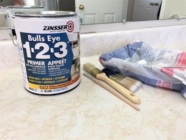 zinsser primer, paint primer, painting supplies, paint tray, paint brushes