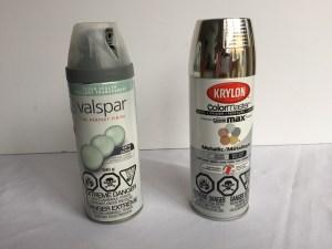 clear spray paint, silver spray paint