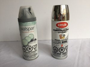 clear spray paint, silver spray paint