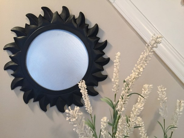 sun mirror, painted mirror, spray paint, thrift store mirror