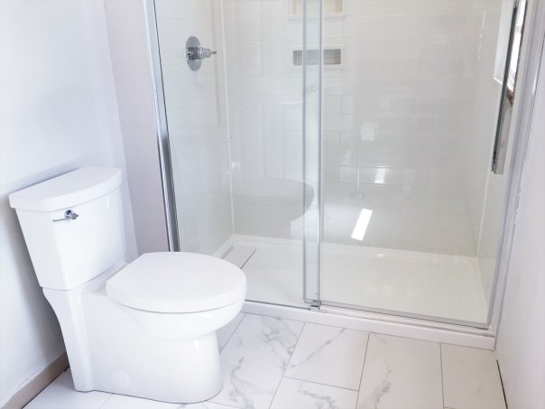 new toilet and shower