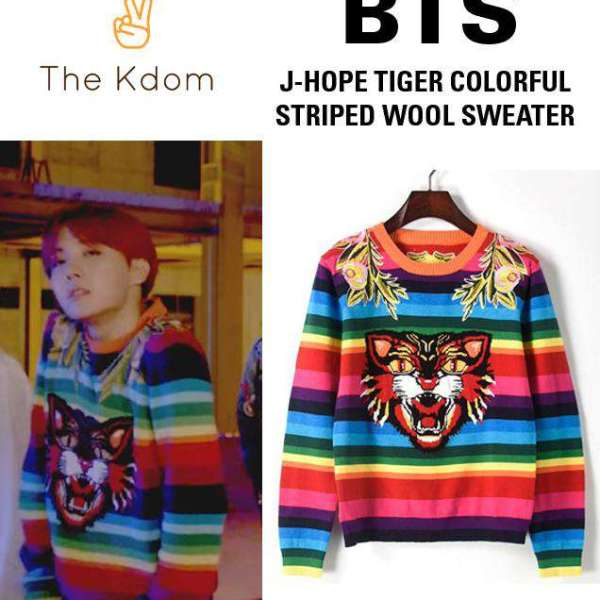 """Pullovers DNA - J-Hope"""" Tiger Colourful Stripe Sweater - The Kdom"""