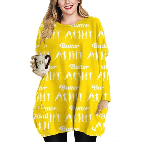 T-Shirts Butter T shirt Mid Dress with Pockets - The Kdom