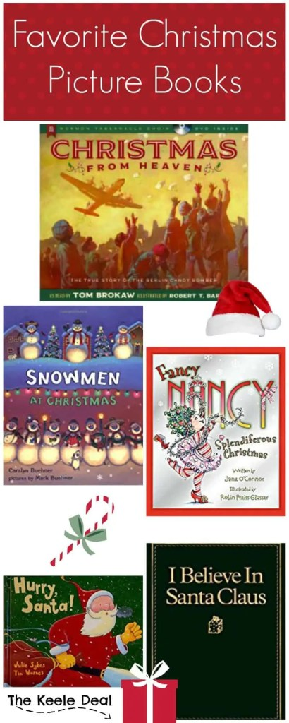 Christmas Picture books are one of my favorite things about the holidays. Today I want to share with you some of our families favorite Christmas Picture Books. thekeeledeal.com #Christmas #Christmasactivities #Christmasbooks #christmasstories #ChristmasGiftsideas #KidsChristmas
