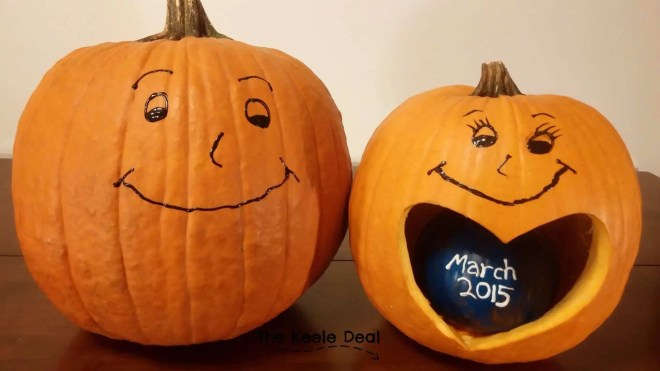 Fall Pregnancy Announcement with pumpkins. 3 years ago, we announced that we were pregnant with our first little pumpkin. thekeeledeal.com #nationalpumpkinday #genderrevealideas #pregnancyannouncement #fallpregnancy
