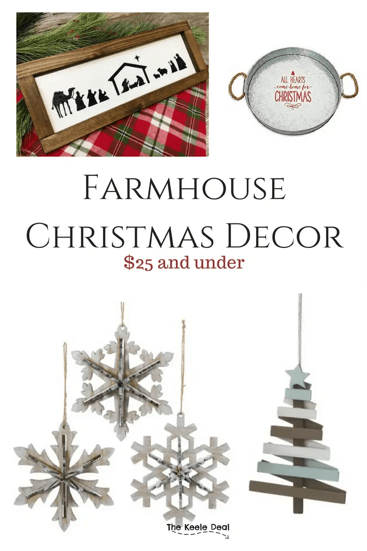 Farmhouse Christmas Decor $25 and under #christmasdecor #Christmas #christmasdecorations #farmhousedecor #farmhouse #farmhousechristmasdecor #homedecorationideas #homedecorideas