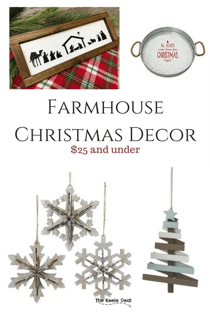 Farmhouse Christmas Decor $25 and under #christmasdecor #Christmas #christmasdecorations #farmhousedecor #farmhouse #farmhousechristmasdecor #homedecorationideas #homedecorideas