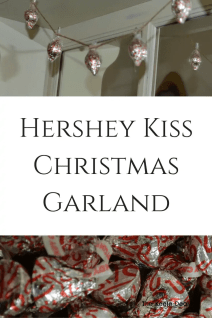 Hershey Kiss Christmas Garland. This Fun, easy garland is the perfect Christmas Craft. It's fun for both kids and adults to make. And it's a cute decor piece. #Christmas #DIY #Christmascraft #ChristmasTreeIdeas #DIYhomedecor #Christmasgiftideas #giftideas #ChristmasCrafts #DIYChristmasornaments