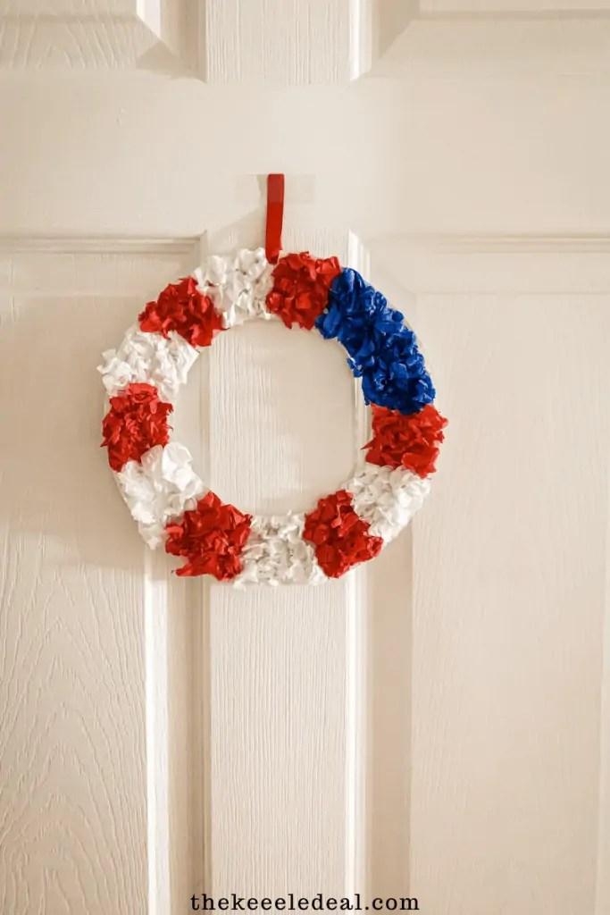 Tissue paper paper plate flag wreath