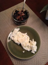5 egg whites, 3/4 cup quinoa, 1 cup blueberries