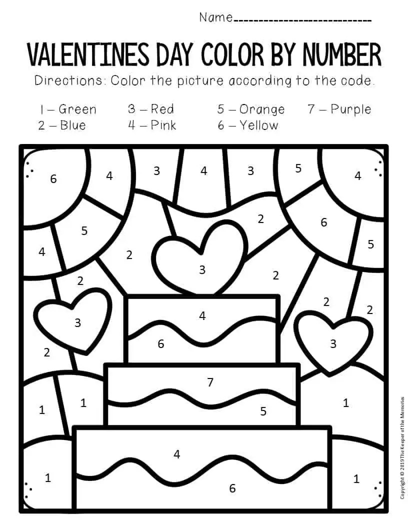 Color by Number Valentine's Day Preschool Worksheets Cake