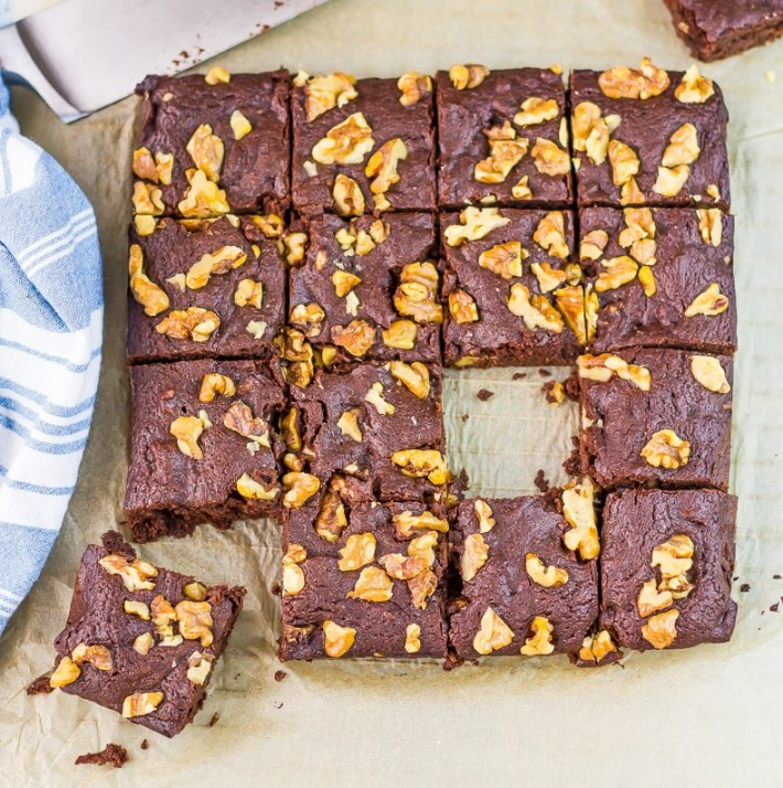 Cake-like Low carb brownies with walnuts are so so so good. Only 2g net carbs per brownie