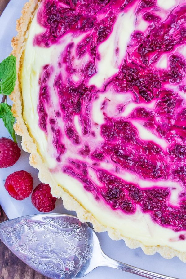 Low Carb Raspberry Swirl Cheesecake