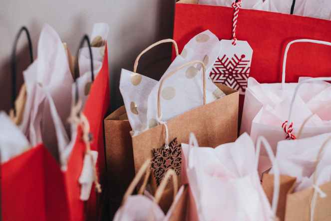 Gift bags and wrapping for Christmas On A Budget post.