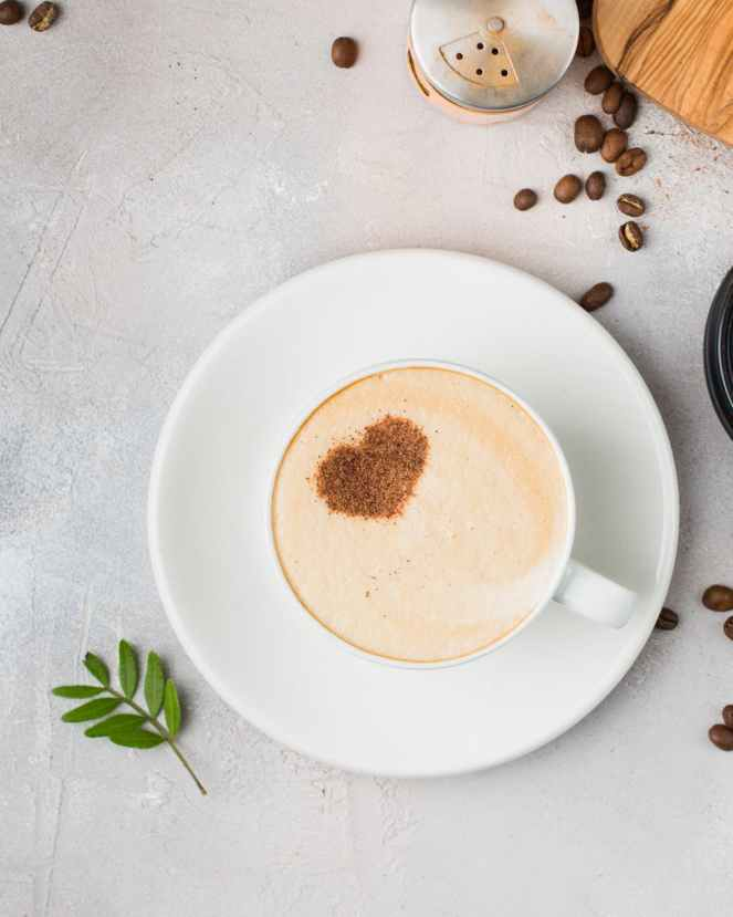round white ceramic saucer and coffee cup for coffee lovers subscription post.