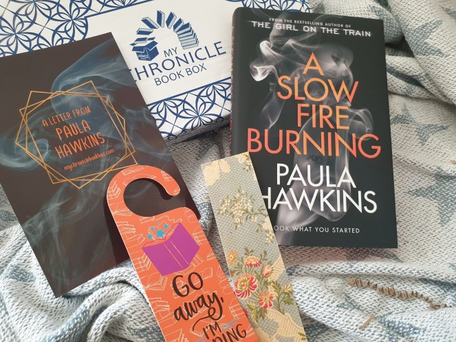 Photo showing the contents of the September My Chronicle Book Box subscription as mentioned within the post.