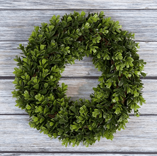 Boxwood Wreath, Artificial Wreath for the Front Door by Pure Garden, Home Décor, UV Resistant