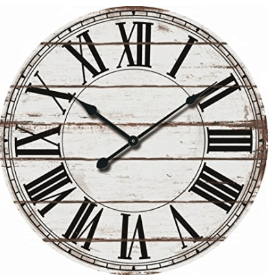 """Oversized 24"""" Rustic White and Black Decorative Wall Clock"""