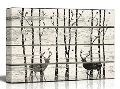 Wall26 - Deer in Birch Forest Wood Cut Print Artwork - Rustic Canvas Wall Art Home Decor - 16x24 inches