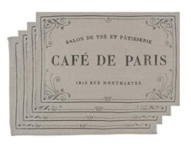 Now Designs Burlap Placemats, Set of Four, Cafe De Paris