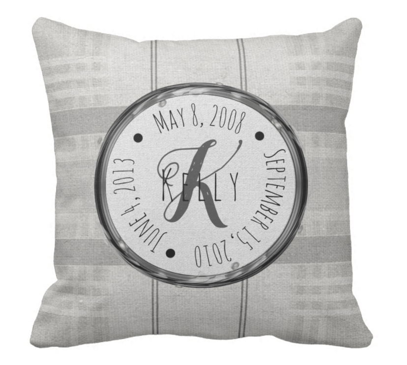 Personalized Family Name & Date Pillow, Personalized Christmas gift,Personalized Mother's day pillow, Personalized gift for wife, Personalized gift for her