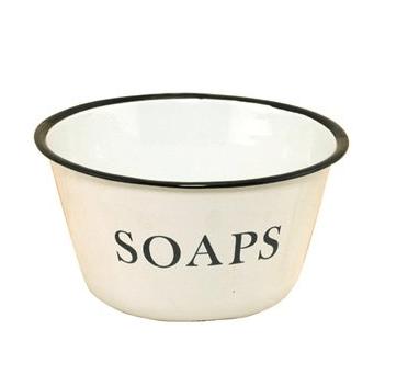 Enamelware Soaps Bowl with Black Trim