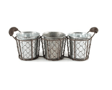 Blossom Bucket 131-36480 Triple Round Decorative Wire Basket with Handles
