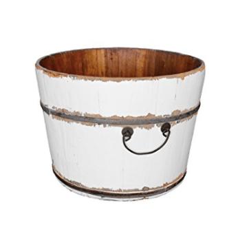 Antique Revival Gota Wooden Bucket, White